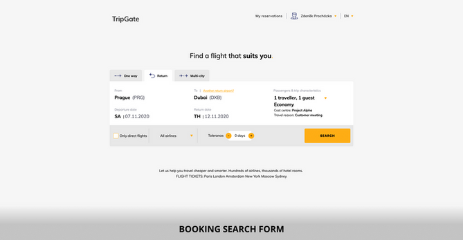 Booking search form