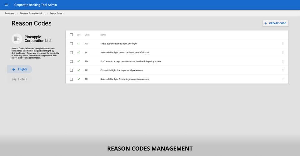 Reason codes management