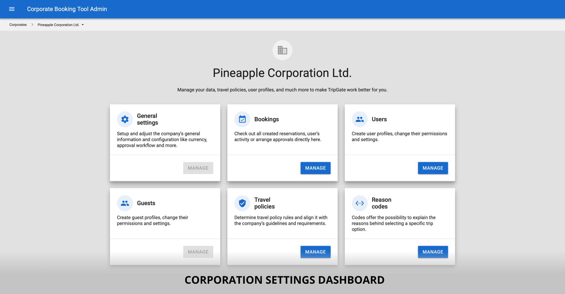 Corporation settings dashboard