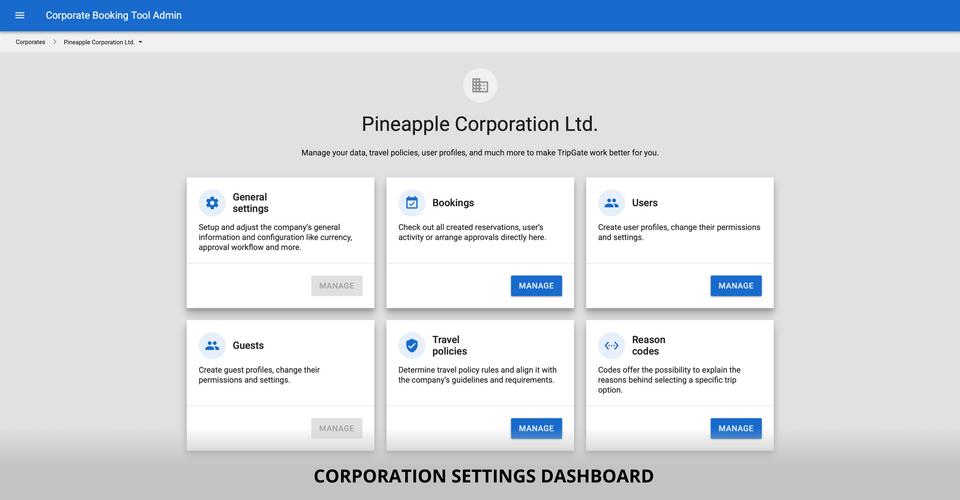 Corporation settings dashboard