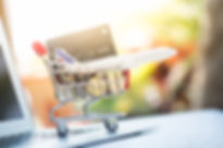 Small shopping cart contains credit or d