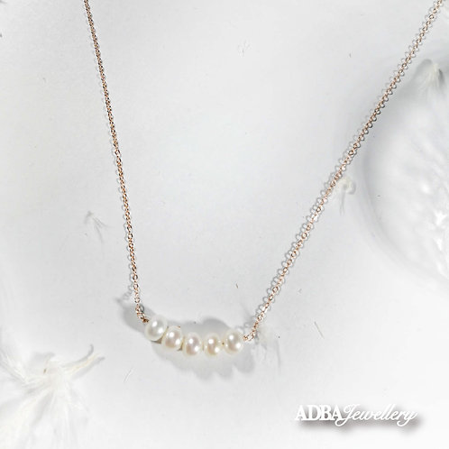 Smiley Rose Gold  Freshwater Pearl Necklace