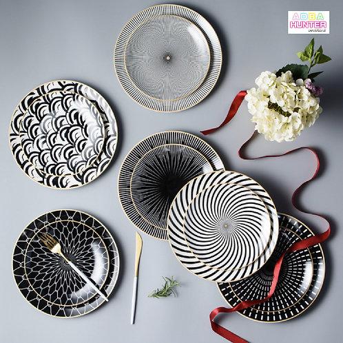 黑白啞面型格金邊陶瓷碟