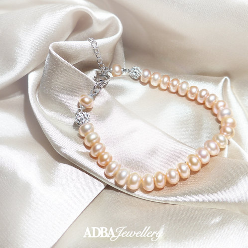 淡橙色可調節淡水珠手鍊 Light Orange Fresh Water Pearl Bracelet