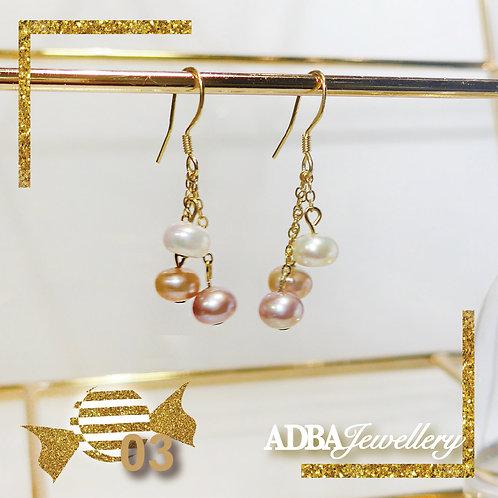 03-糖果風淡水珍珠耳環 Candy Color Fresh Water Pearl Short Earrings