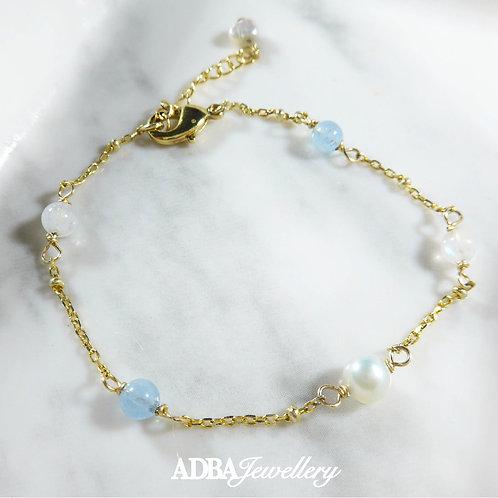 海藍寶 X 月亮石 X 淡水珍珠手鏈 Aquamarine X Moonstone X Freshwater Pearl Bracelet