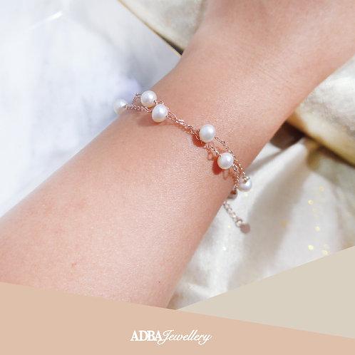 925純銀玫瑰金橢圓淡水珍珠滿天星手鏈 Double Layer Rose Gold Fresh Water Pearl Bracelet
