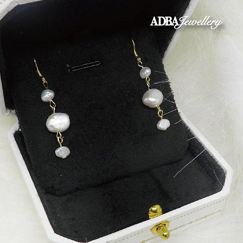 14KGF 巴洛克淡水珍珠波浪耳環14KGF Baroque Pearl long Earrings