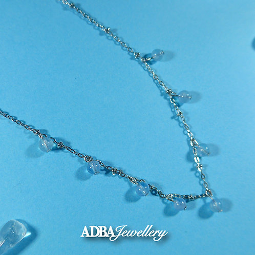 海藍寶小鈴噹頸鏈 925 Silver Aquamarine Charm Necklace