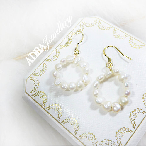 14KGF 圈圈巴洛克淡水珍珠耳環14KGF Baroque Pearl Circle  Earrings