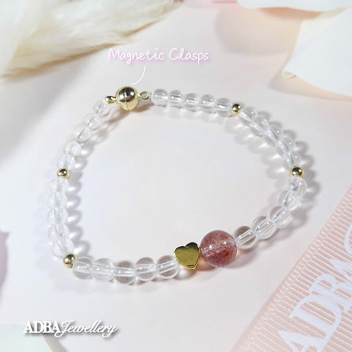 Fresh Style Clear Quartz X Strawberry Quartz Bracelet 小清新白水晶 X 草莓晶手鏈