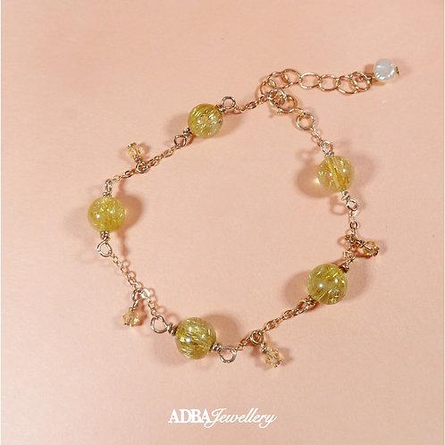 金髮晶 Golden Rutilated Quartz Rose Gold Feminine Bracelet