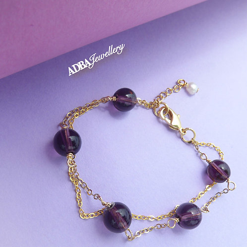 紫水晶 Gold S925 Silver Amethyst Double Layer Bracelet