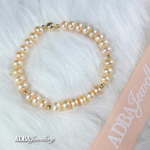 Orange Fresh Water Pearl Bead Bracelet