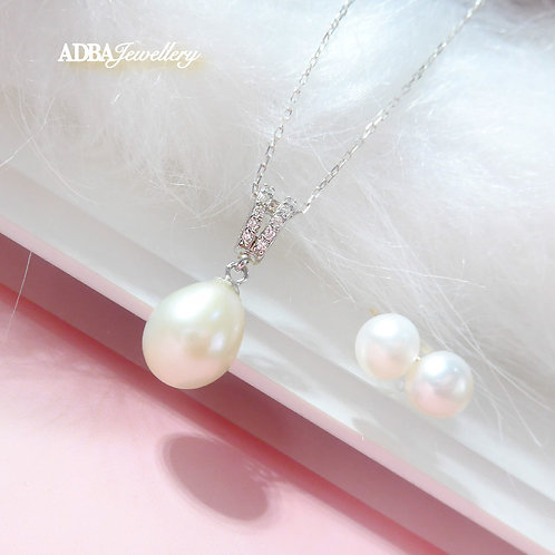 Elegance 925 Silver Oval Fresh Water Pearl Necklace with Earrings Set