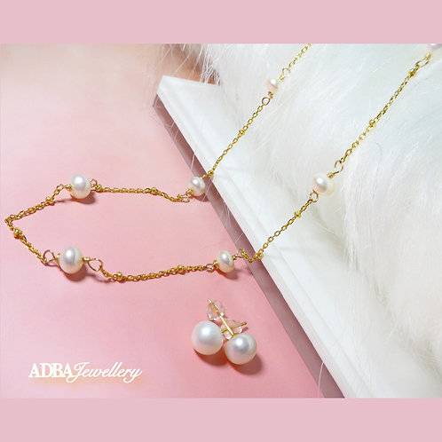 Star's Breath Fresh Water Pearl Necklace with Earrings Set