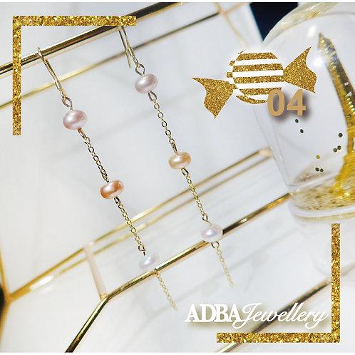 04-糖果風淡水珍珠長耳環 Candy-color Fresh Water Pearl Long Earrings