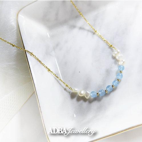 海藍寶淡水珍珠頸鏈  925 Silver Aquamarine Freshwater Pearl Necklace
