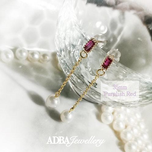 CZ古典虎珀啡/深紅色方塊吊耳環 CZ Vintage Amber Brown/ Purplish Red Drop Earrings
