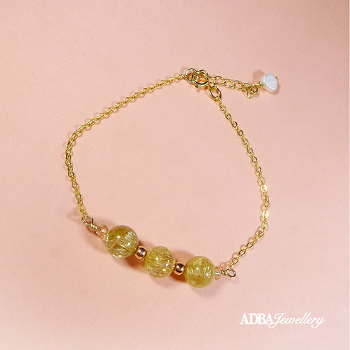 金髮晶 Golden Rutilated Quartz Gold Feminine Bracelet