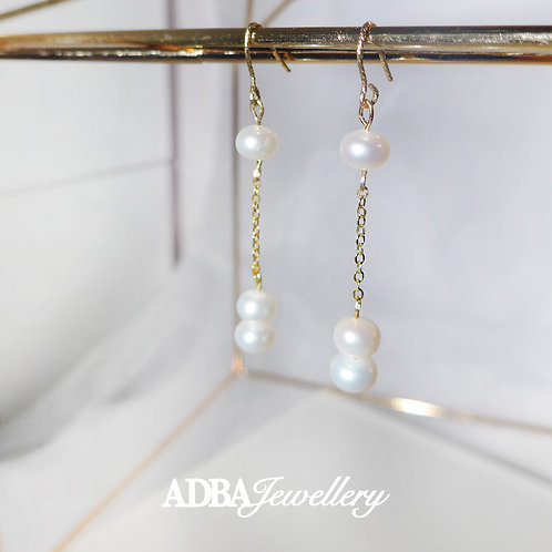 鍍真金瘦面淡水珍珠長耳環 Fresh Water Pearl Gold Plated Long Earrings