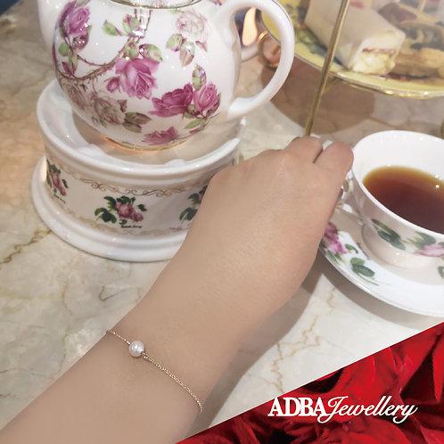 單顆7.5-8mm 4A級淡水珠配幼身925純銀鍍金手鍊