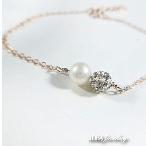 Austria Crystal Freshwater  Pearl Bracelet