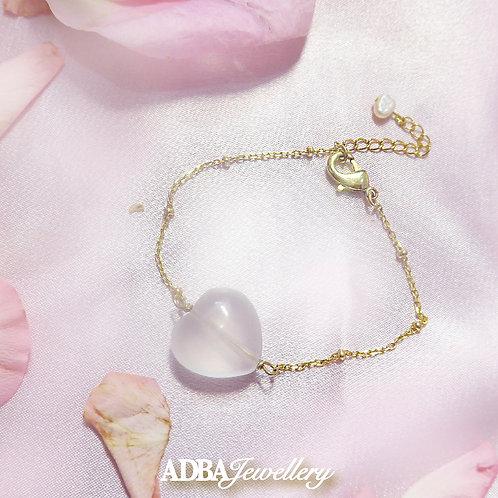 一條心冰種粉晶隔珠手鍊 One heart shape Bracelet