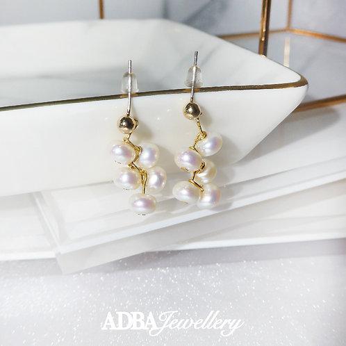 鍍真金淡水珍珠瀑布耳環 925 Silver Plated Gold Fresh Water Pearl chandelier