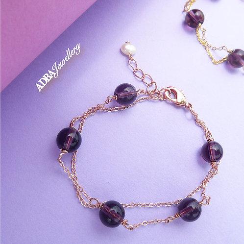 紫水晶 Rose Gold S925 Silver Amethyst Double Layer Bracelet