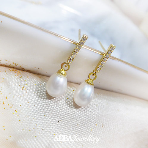一字鑲鋯石耳環 A- Line Fresh Water Pearl Dangle