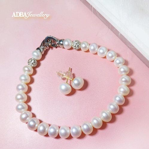 Bridal Fresh Water Pearl Bracelet with Earrings Set
