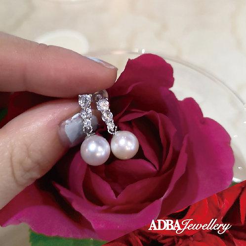 貴族鋯石淡水珠短耳環 Noble Style Fresh Water Pearl Dangle/ Earrings
