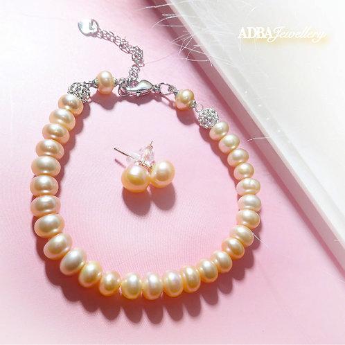 Light Orange Fresh Water Pearl Bracelet with Earrings Set