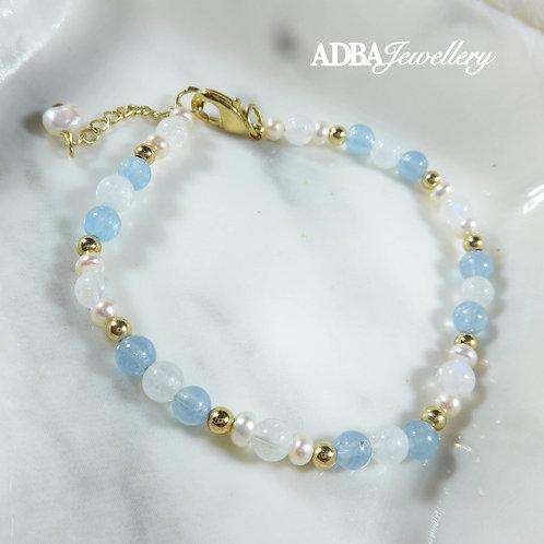 14KGF 海藍寶月亮石手鏈 Aquamarine X Moonstone X Freshwater Pearl Bracelet