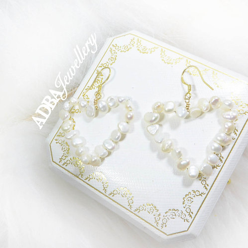 14KGF 心心巴洛克淡水珍珠耳環14KGF Baroque Pearl Heart Earrings