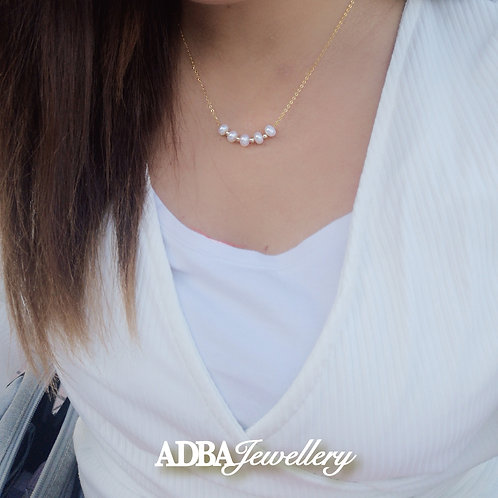 925純銀鍍黃金雙色微笑頸鏈 925 silver Fresh Water Pearl beaded smiley Necklace