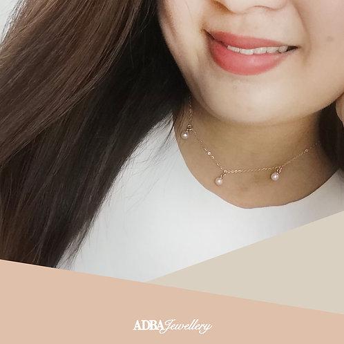 小清新925純銀鍍玫瑰金頸鏈 Fresh Style Rose Gold 925 Silver Oval Fresh Water Pearl Necklace