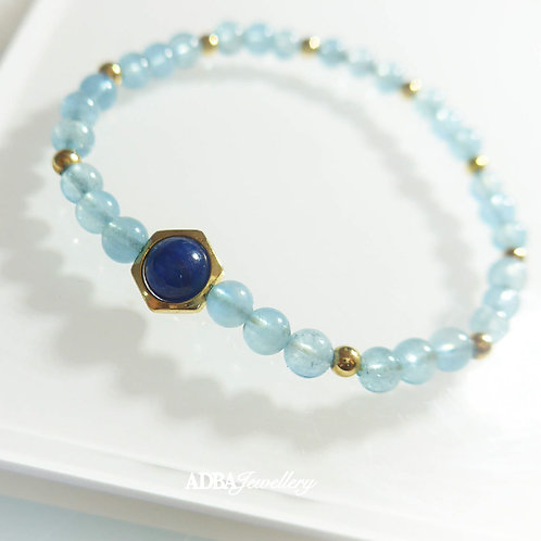 藍晶石 X 海藍寶彈力手鏈 Kyanite & Aquamarine Beaded Bracelet