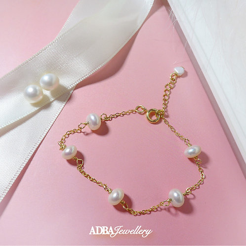 Star's Breath Fresh Water Pearl Bracelet with Earrings Set