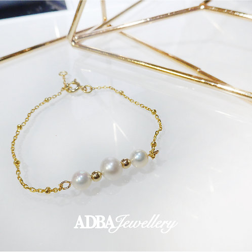 5A級正圓淡水珍珠925純銀鍍金手鏈 5A grade Fresh Water Pearl Bracelet