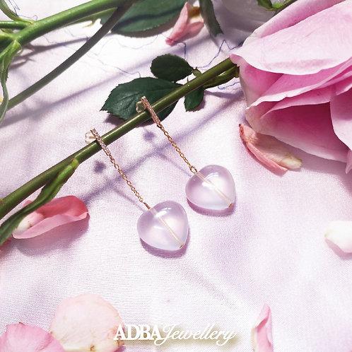 冰種粉晶心心耳環 Rose Quartz Heart Earrings
