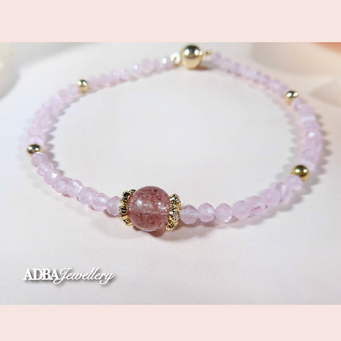 Vintage Rose Quartz & Strawberry Quartz Bracelet