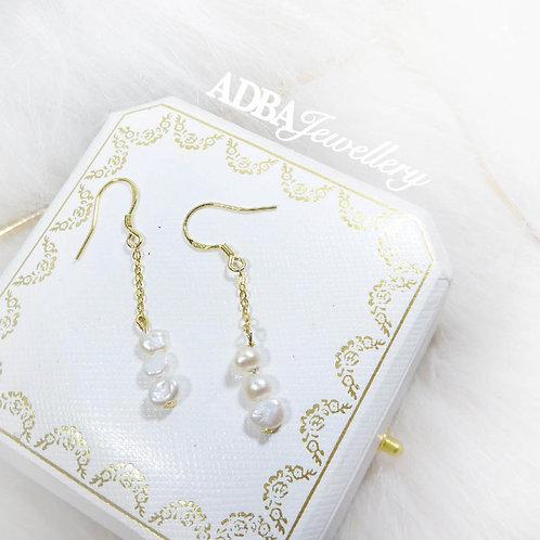 14KGF 巴洛克小星星耳環14KGF Baroque Pearl Star long Earrings