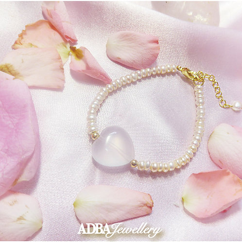 冰種粉晶淡水珠手鍊 Rose Quartz with fresh Water Pearl Bracelet