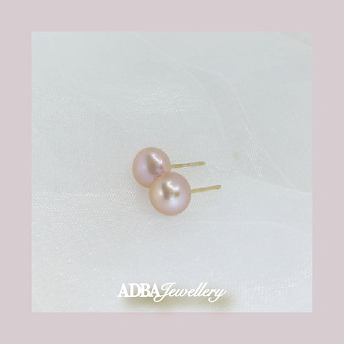 (7.5-8mm) 淡紫色4A級淡水珍珠耳環Purple  4A grade Fresh Water Pearl Studs Earrings