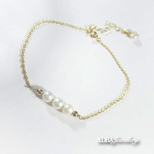 Lucky three Freshwater  Pearl Bracelet