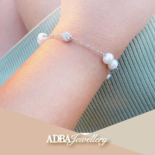 925純銀奧地利水晶珠滿天星手鏈  925 Silver Cubic Zirconia Fresh Water Pearl Bracelet
