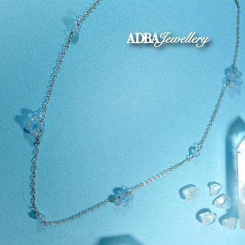 海藍寶花開頸鏈 925 Silver Aquamarine Blossom Choker