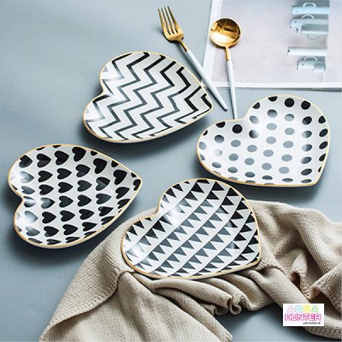 心型金邊陶瓷碟